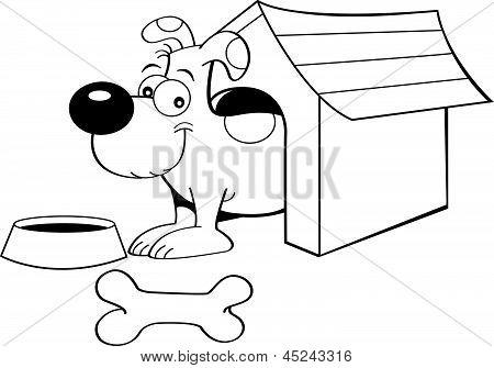 Cão dos desenhos animados em uma casinha de cachorro