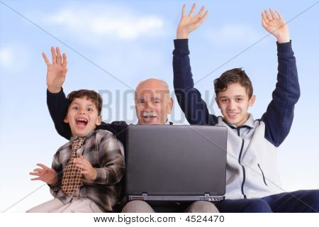 Grandfather, Grandsons And Notebook