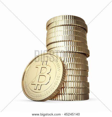 golden bitcoin stack on white