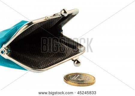 an almost empty wallet as a symbol, photo on debt, poverty and bankruptcy