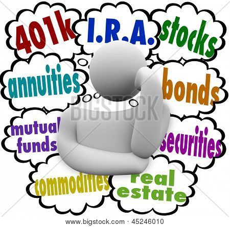 A thinking person wonders what are the best choices for investing for the future, with the words 401k, annuity, mutual funds, I.R.A., real estate, stocks, bonds, securities, and real estate