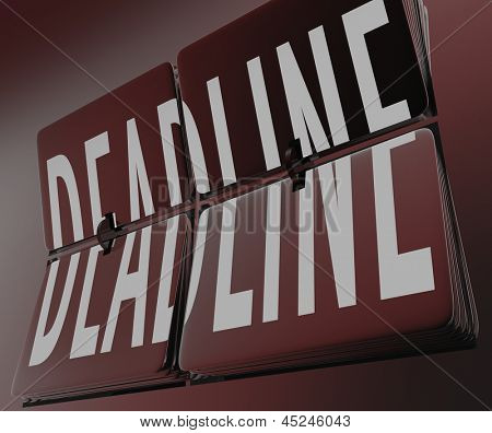 The word Deadline on flipping clock tiles to symbolize an end to a time periord or a countdown coming to its finish