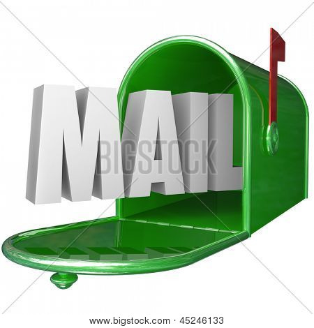 The word Mail in a green metal mailbox to represent delivery of a new message, letter or other form of communiation