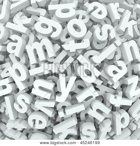 Many alphabet letters in a jumbled mess of a 3D display or background of words and messages