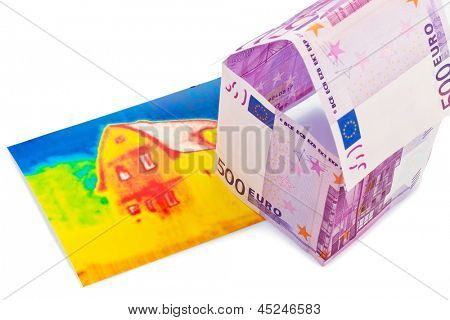 a house built out of euros and money seem an infrared image. building society, building houses and buying a house.