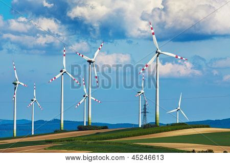 Windkraftanlage von einer Windkraftanlage. Herstellung von alternative und nachhaltige Energie für Strom gener
