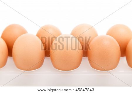 Eggs In Plastic Tray Over White Background