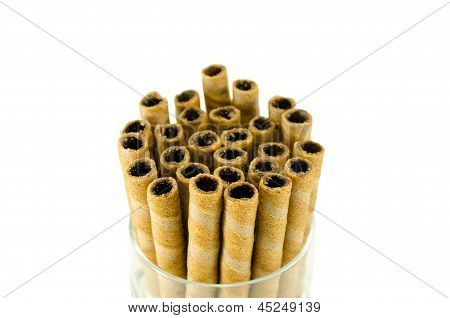 Sweet Tubules Rolls Sticks With Chocolate Cream