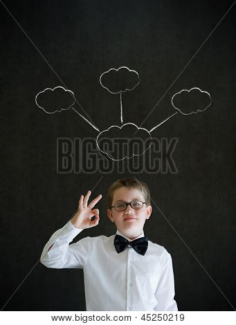 All Ok Boy Dressed As Business Man With Strategy Thought Chalk Clouds