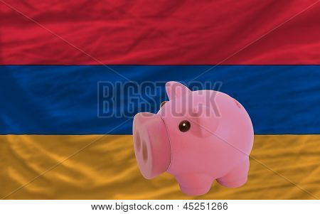 Piggy Rich Bank And  National Flag Of Armenia