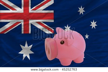 Piggy Rich Bank And  National Flag Of Australia