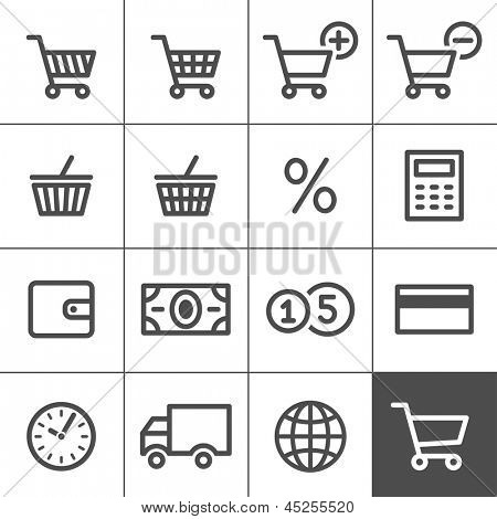 Shopping Icon Set. Simplines series. Vector illustration