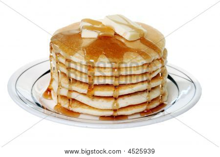 Isolated Pancakes With Butter And Syrup Finished