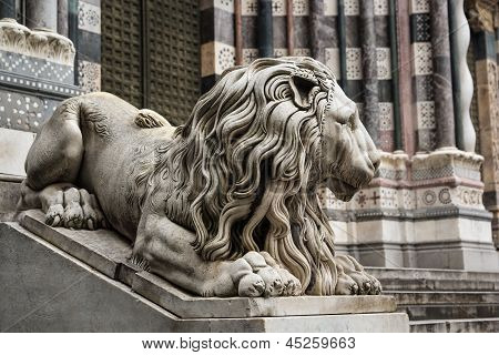 Genoa cthedral facade decoration, Italy