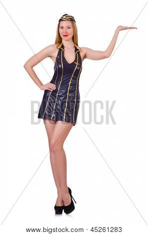 Tall airhostess isolated on white