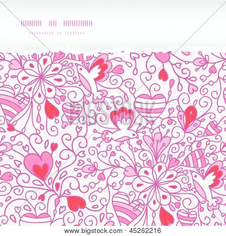 Love garden horizontal torn paper pattern background