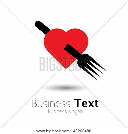 Heart And Fork Icon Showing Love Of Food- Vector Graphic