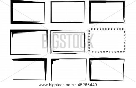 9 Isolated Black and White Vector Ink Art Border Frames