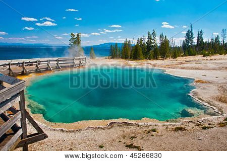 The Beautiful Blue Pool near Yellowstone Lake in Yellowstone National Park