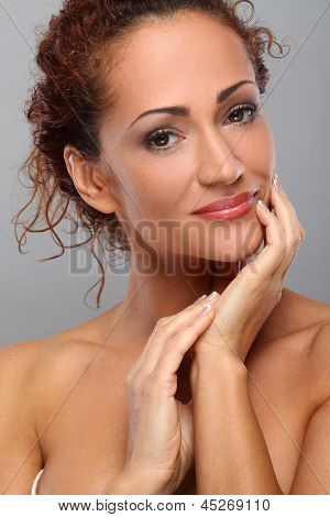 Beautiful middleaged woman with natural makeup