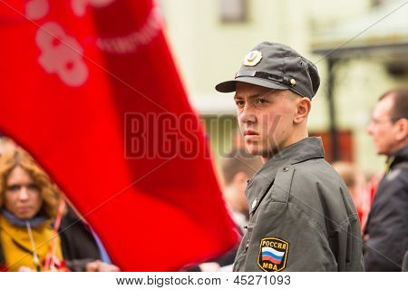 MOSCOW - MAY 1: Unidentified police during a rally Communist Party in the May Day, May 1, 2013 in Moscow, Russia.