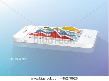 Business  concept: touchscreen smartphone with business graph. Vector illustration.