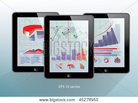 Set of black tablet computers. with business applications on screens. Vector illustration.