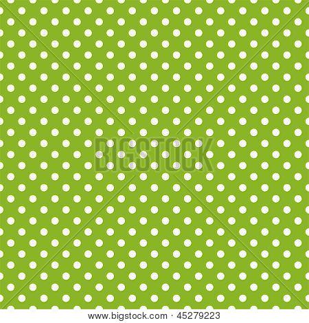 Patrón de primavera inconsútil de vector con lunares blancos sobre fondo verde de hierba fresca