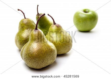 Pears and an apple isolated on white background