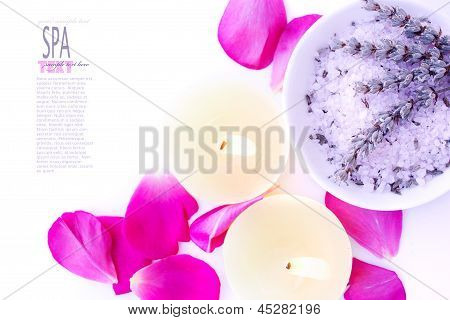 Spa Setting With Lavender Bath Salt