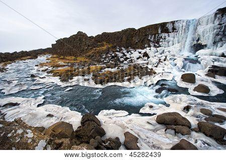 Waterfall In Pingvellir Valley
