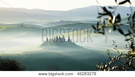 morning on countryside, San Quirico d���´Orcia, Tuscany, Italy