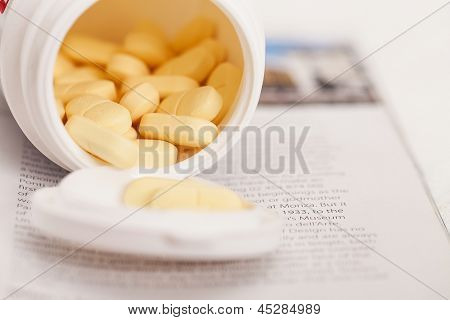Closeup image of medicine pills in a package