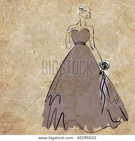 art sketching beautiful melancholic young  bride with the bride's bouquet