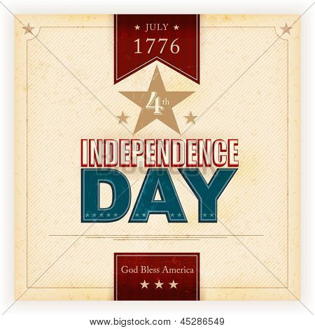 Vintage style Independence Day poster with the wording: July 1776 4th, Independence Day, God Bless America. Grunge elements and stains give it an aged and worn feeling. Vector available.