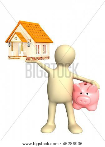 Puppet with piggy bank and house. Isolated over white