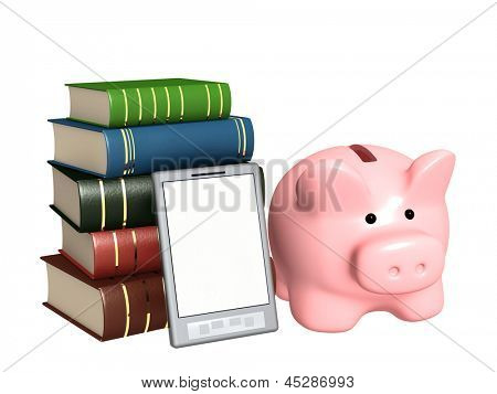 Piggy bank, e-book and books. Objects isolated over white