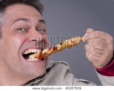 Hungry meat-eating man, no diet