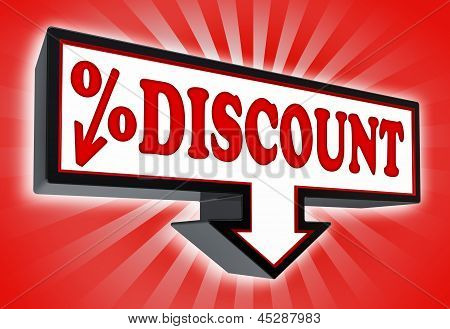 Discount Red And Black Arrow Sign