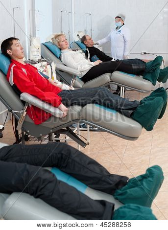 Donors At Hemotransfusion Station