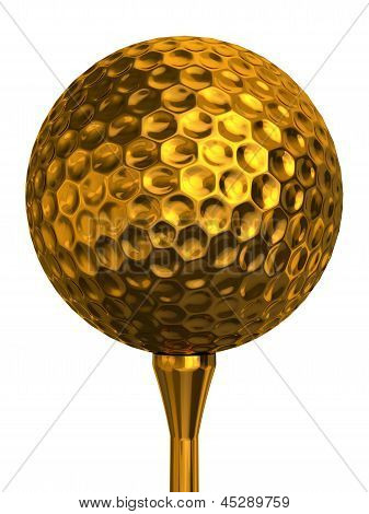 Golf Ball Gold On Tee