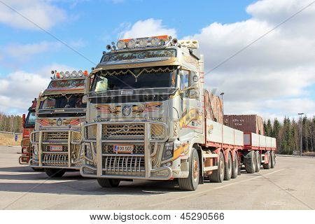 Three Volvo Rock Transport Trucks