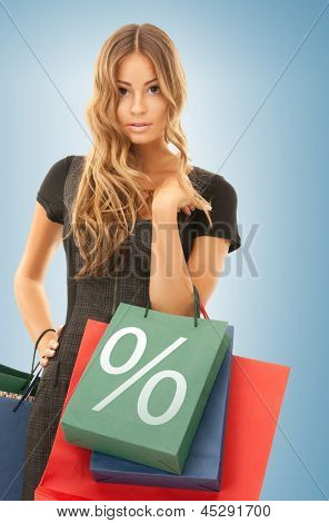 picture of beautiful woman with shopping bags