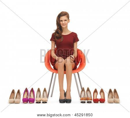 picture of sitting woman with high heeled shoes