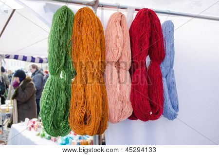 Woollen Thread Bunches Sell Outdoor Market Fair