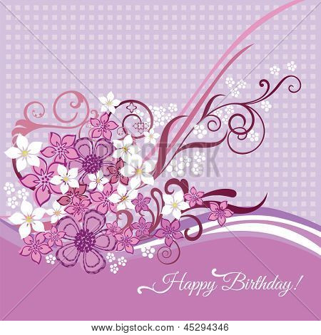 Feminine happy birtday card with pink and white flowers and swirls