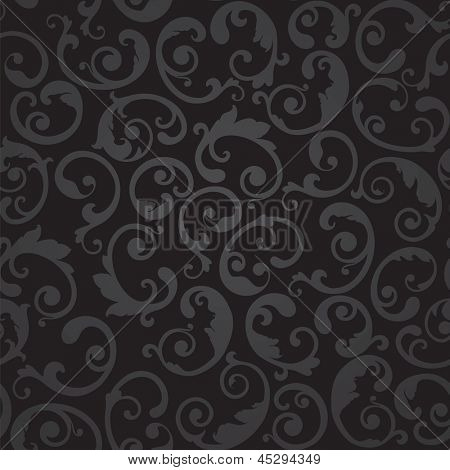 Seamless black and grey swirls floral wallpaper pattern. This image is a vector illustration.