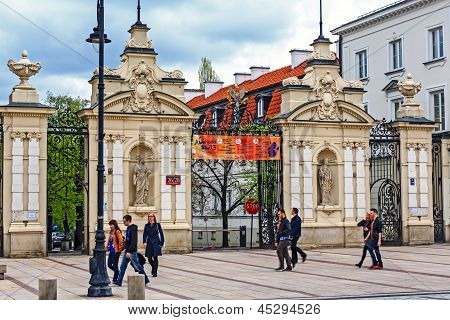 The Main Gate To The University Of Warsaw