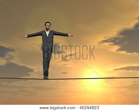 Conceptual concept of businessman or man in crisis walking in balance on rope over sunset sky background