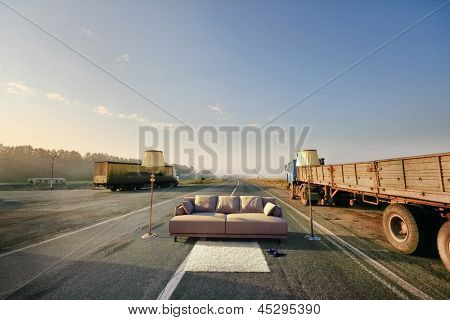 sofa on the road concept (photo compilation)